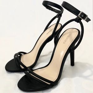 Forever 21 Black Faux Leather Strappy Heel Sandal